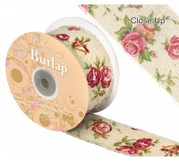 Eleganza Burlap Frayed Edge Vintage Rose 50mm x 10m