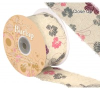 Eleganza Burlap Frayed Edge Contemporary Floral 50mm x 10m