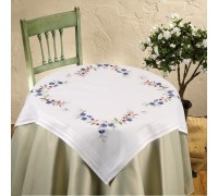 Blue Pansy 80x80cm Printed Tablecloth Kit