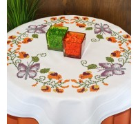 Butterfly and Flowers 80x80cm Printed Tablecloth Kit