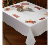 Candle and Poinsettia 130x160cm Tablecloth