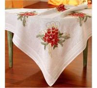 Candle and Poinsettia 80x80cm Printed Tablecloth Kit