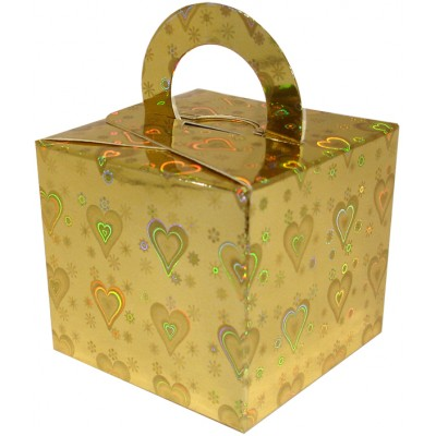 Balloon/Gift Box Gold Holographic Heart x 10pcs