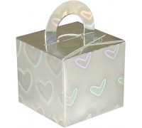 Balloon/Gift Box Silver Holographic Large Heart x 10pcs
