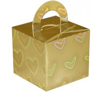 Balloon/Gift Box Gold Holographic Large Heart x 10pcs