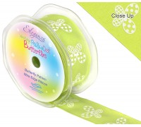 Eleganza Wired Polka dot Butterfly ribbon 38mm x 10m Lime Green No.14