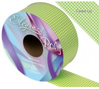 Eleganza Poly 50mm x 50m Gingham Lime Green No.14