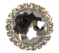 Eleganza Brooches Gem stone w/Diamante surround Clear 22mm Pack 3pcs