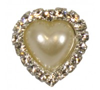 Eleganza Brooches Pearl Heart Diamante cluster 18mm Pack 3pcs