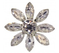 Eleganza Brooches Crystal Glass Flower Clear 28mm Pack 3pcs