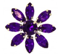 Eleganza Brooches Acrylic Crystal Flower Purple 28mm 3pcs