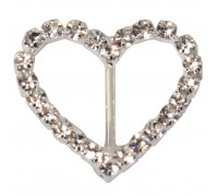 Eleganza Diamante Buckles Heart inner/outer size 15mm/27mm pack/6pcs