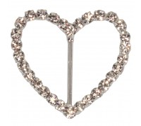 Eleganza Diamante Buckles Heart inner/outer size 25mm/40mm pack/4pcs