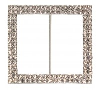 Eleganza Diamante Buckles Double Square inner/outer size 50mm/65mm pack/1pc