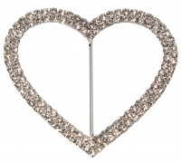 Eleganza Diamante Buckles Double Heart inner/outer size 50mm/75mm pack/1pc
