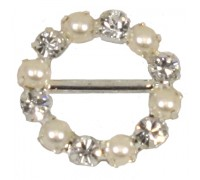 Eleganza Diamante Buckles Pearl Round inner/outer size 10mm/16mm pack/4pcs