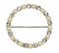 Eleganza Diamante Buckles Pearl Round inner/outer size 30mm/37mm pack/1pc