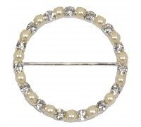 Eleganza Diamante Buckles Pearl Round inner/outer size 50mm/61mm pack/1pc