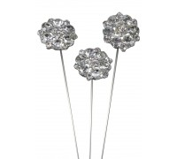 Diamante Petals Wire Pick 25mm x 8 3pcs