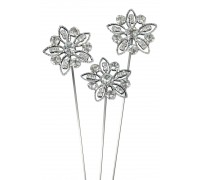 Delicate Diamante Flower Wire Pick 30mm x 8 3pcs