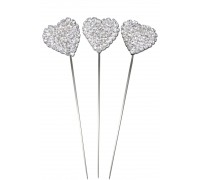 Domed Diamante Heart Wire Pick 20mm x 8 3pcs