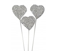 Domed Diamante Heart Wire Pick 30mm x 8 3pcs