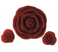 X RESIN FLOWERS RED LARGE 1 SMALL 2