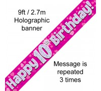 Happy 10th Birthday Pink Banner
