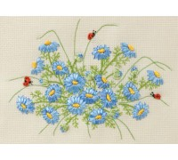 Blue Daisy With Ladybirds Ribbon Embroidery Kit C-1102