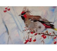 Waxwing Living Picture Satin Stitch Printed Cross Stitch JK-2028