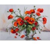 Study Of Poppies Living Picture Printed Cross Stitch Kit JK-2074