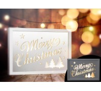 Wooden LED Box White Merry Christmas