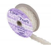 Eleganza Lace & Pearls 18mm x 5yds/4.57m White No.01