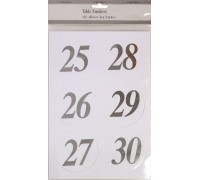 X TABLE NUMBERS SILVER 25-36