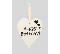 Wooden White Washed - 9cm x 11cm Happy Birthday