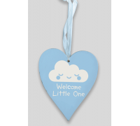 Wooden Heart - Pastel Blue 9cm x 11cm Welcome Little One