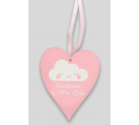 Wooden Heart - Pastel Pink 9cm x 11cm Welcome Little One